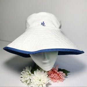 Ralph Lauren Floppy Hat Reverses White Blue NWOT